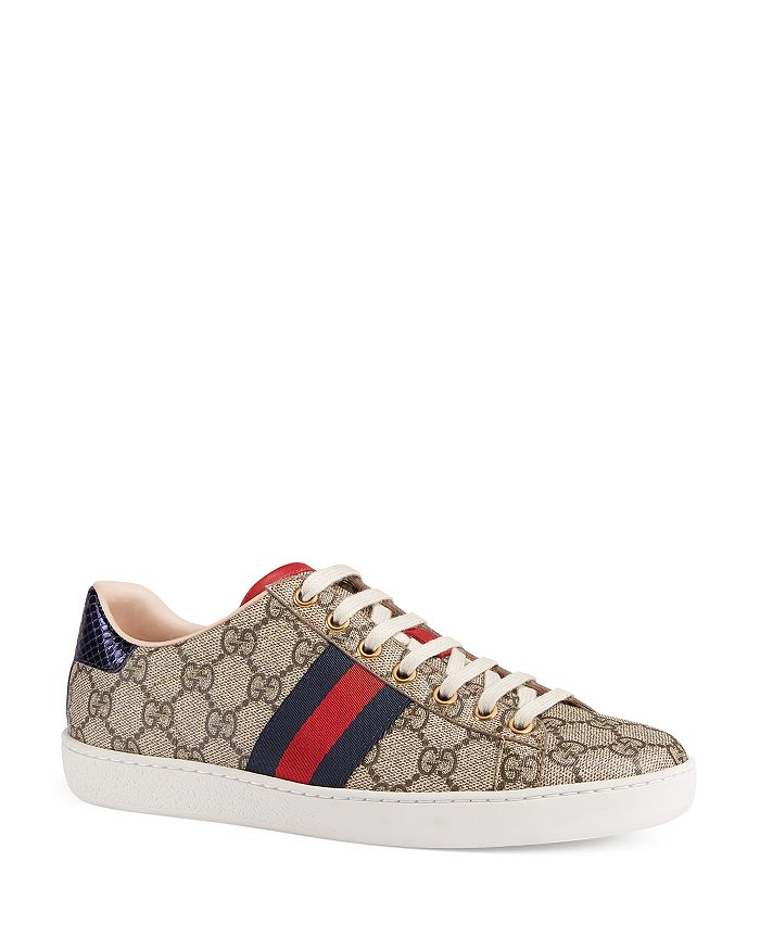 a0b650742b8 Gucci Women s New Ace GG Supreme Canvas Low Top Lace Up Sneakers ...