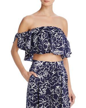 MISA Lunna Off-The-Shoulder Floral-Print Satin Crop Top in Navy