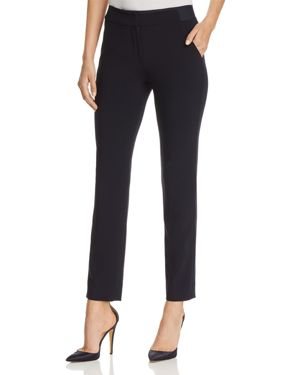 Elasticated Waist Slim Trousers, Navy