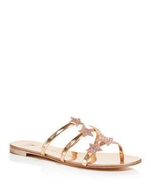 Giuseppe Zanotti Women's Shooting Star Swarovski Crystal Embellished Leather Slide Sandals 2717006