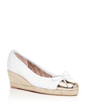 Paul Mayer Women's Just Quilted Leather Espadrille Wedge Pumps