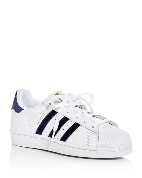 Adidas - Women's Superstar Leather & Velvet Lace Up Sneakers