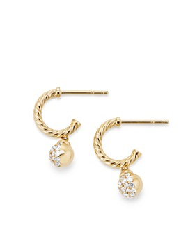David Yurman - Solari Hoop Pavé Earrings with Diamonds in 18K Gold