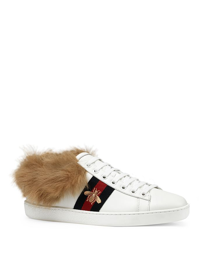 2cba7f2efc6 Gucci Women s New Ace Leather   Lamb Fur Lace Up Sneakers ...