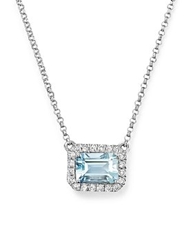 "Bloomingdale's - Aquamarine & Diamond Pendant Necklace in 14K White Gold, 17"" - 100% Exclusive"