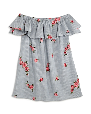 Aqua Girls' Striped & Floral-Embroidered Off-the-Shoulder Dress, Big Kid - 100% Exclusive