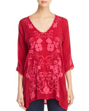 Johnny Was Collection Sheradonian Embroidered Tunic Top