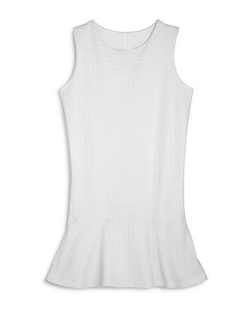 AQUA - Girls' Solid Textured Houndstooth Dress, Big Kid - 100% Exclusive