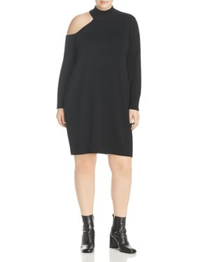 Love Scarlett Plus Single Cold Shoulder Sweater Dress