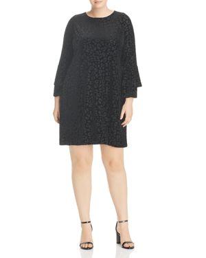 Love Ady Plus Bell-Sleeve Burnout Velvet Dress
