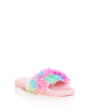 Steve Madden Girls' Softlite Faux-Fur Pool Slides - Little Kid, Big Kid