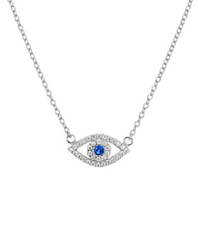 "AQUA - Sterling Silver Evil Eye Pendant Necklace, 15"" - 100% Exclusive"