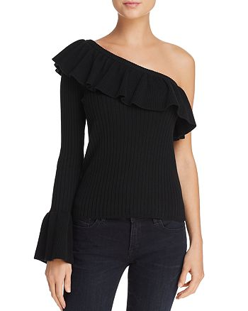 Rebecca Minkoff - Ava Ruffled One-Shoulder Sweater