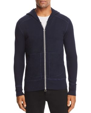 WINGS + HORNS Wings And Horns 1X1 Slub Zip Hooded Sweatshirt in Navy