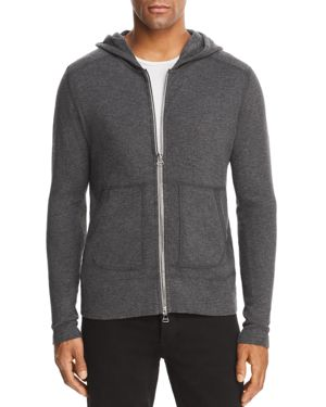 WINGS + HORNS Wings And Horns 1X1 Slub Zip Hooded Sweatshirt in Heather Grey