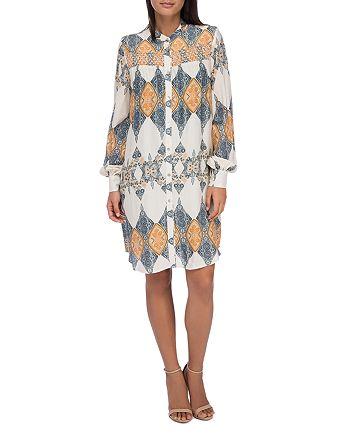 B Collection by Bobeau - Chels Scarf Print Shirt Dress