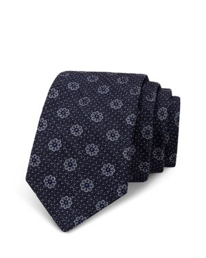The Men's Store at Bloomingdale's Eight Petal Flower Dotted Skinny Tie - 100% Exclusive