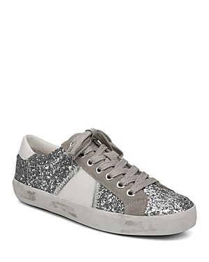 c5ff20a73632a Sam Edelman Women S Baylee Suede   Glitter Low Top Lace Up Sneakers In  Silver Fog