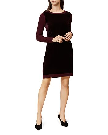 HOBBS LONDON - Benita Velvet-Inset Sweater Dress
