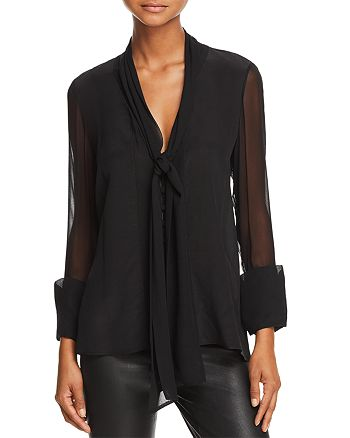8ca0ce7f261040 Alice and Olivia - Gwenda Tie-Neck Silk Blouse