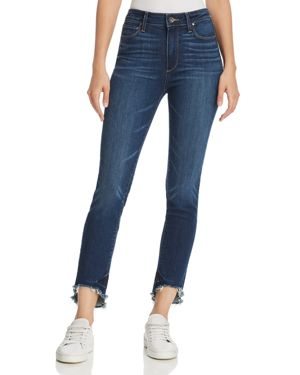 Paige Hoxton Frayed Arched-Hem Jeans in Auburn 2806133
