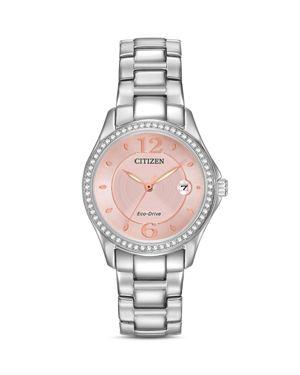 Women'S Eco-Drive Stainless Steel Bracelet Watch 29Mm Fe1140-86X, Pink/Silver