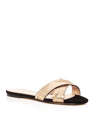 Botkier Women's Millie Chain Embellished Suede Crisscross Slide Sandals