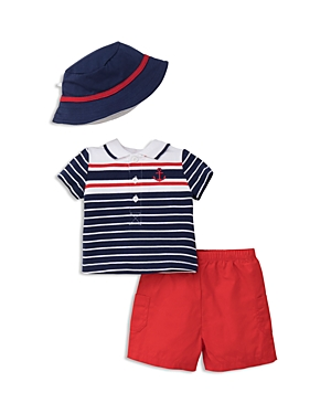 Little Me Boys' Nautical Striped Polo, Solid Shorts & Bucket Hat Set - Baby