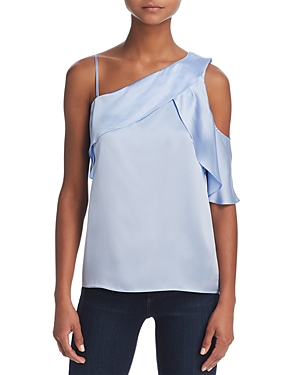 Parker Connie Ruffled Cold-Shoulder Top