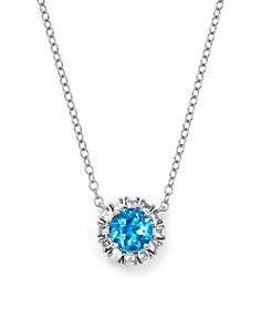 """Bloomingdale's - Swiss Blue Topaz & Diamond Pendant Necklace in 14K White Gold, 16"""" - 100% Exclusive"""