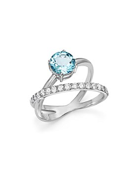 Bloomingdale's - Aquamarine & Diamond Crossover Ring in 14K White Gold - 100% Exclusive
