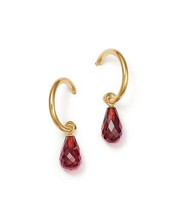 Bloomingdale's - Garnet Briolette Hoop Drop Earrings in 14K Yellow Gold - 100% Exclusive