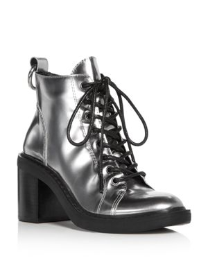 Dolce Vita Women's Lynx Patent Leather Lace Up Block Heel Booties