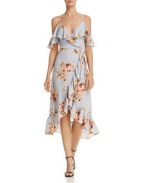 Aqua Floral Cold-Shoulder Faux Wrap Dress - 100% Exclusive