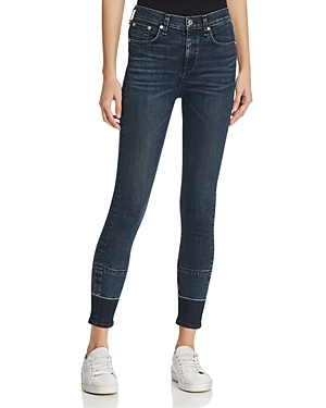 rag & bone/Jean High Rise Ankle Skinny Jeans in Dark Blue Vee