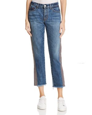 Riley Cropped Straight-Leg Jeans With Side Stripes, Forgiver