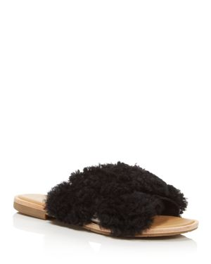 Women'S Joni Lamb Fur Crisscross Slide Sandals, Black