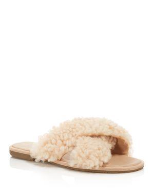 Women'S Joni Lamb Fur Crisscross Slide Sandals, Light Blush