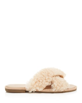 UGG® - Women's Joni Lamb Fur Crisscross Slide Sandals