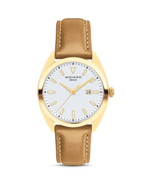 Heritage Datron Yellow Goldplated Stainless Steel & Leather Strap Watch in Cognac/ White/ Gold