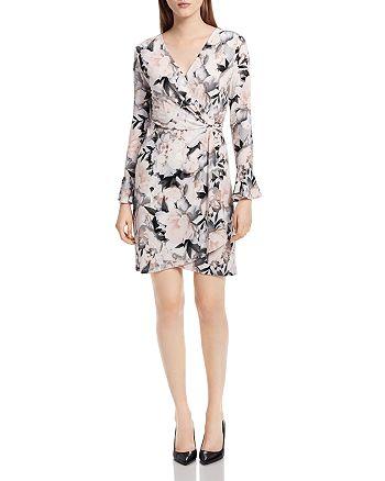 Calvin Klein - Floral-Print Faux-Wrap Dress