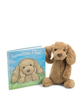 Jellycat - Sometimes I Feel Book & Medium Toffee Puppy - Ages 0+