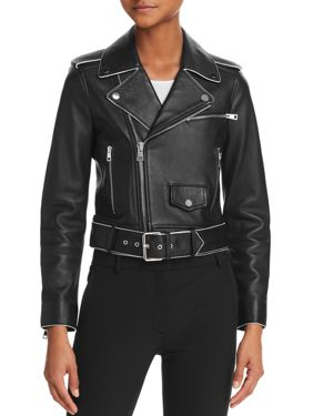 Shrunken Lamb Leather Moto Jacket W/ Painted Edge, Black