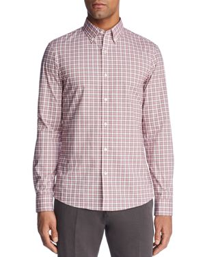 Michael Kors Stretch Micro Check Long Sleeve Button-Down Shirt