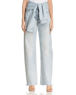 T by Alexander Wang Tie-Waist Wide-Leg Jeans in Bleach