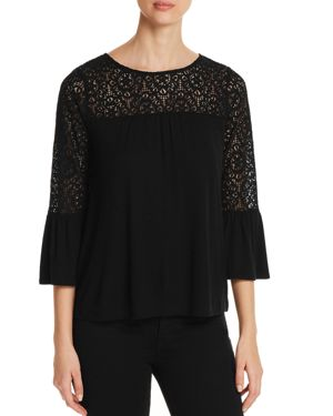 Design History Lace-Trimmed Bell-Sleeve Top