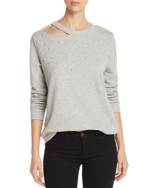 Alison Andrews Embellished Cutout Sweatshirt