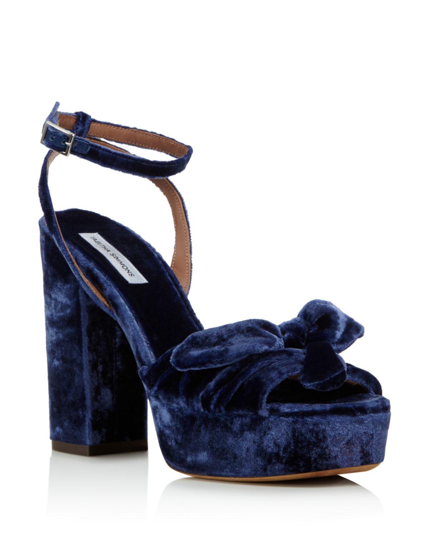 Tabitha Simmons Women's Jodie Velvet Platform Ankle Strap Sandals