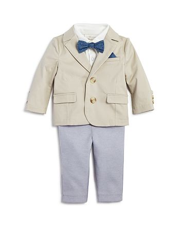Miniclasix - Boys' Blazer, Polo Shirt & Pants Set with Removable Bow Tie - Baby