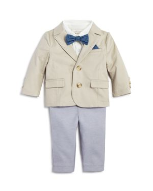 Miniclasix Boys' Blazer, Polo Shirt & Pants Set with Removable Bow Tie - Baby